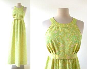 Lilly Pulitzer Dress / 60s Maxi Dress / Halter Dress 1960s / XXS XS