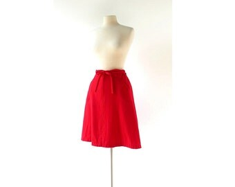 Vintage 60s Skirt | Red Wool Wrap Skirt | Bobbie Brooks | 28-31W S M