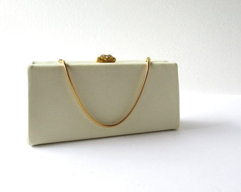 Vintage 1960s Purse / Box Purse / Wedding Purse / Ivory Clutch