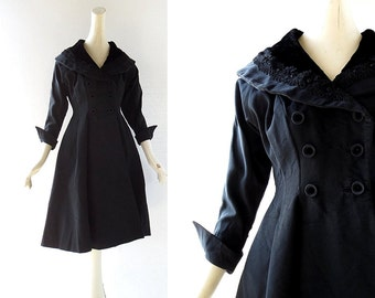 50s Black Dress / New Look Dress / Coat Dress / Vintage 1950s Dress / XS