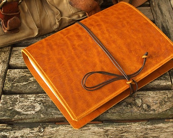 A5, Medium, Outback Leather Journal, Tan Leather Journal, Leather Notebook, Travel Journal, Rustic Wedding Guestbook, Leather Diary, Bound.