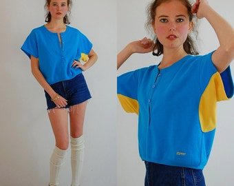 Esprit Boxy Crop Top Vintage 90s Blue and Yellow ESPRIT Sport Slouchy Hip Hop Sweatshirt (s m)