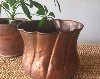 Twisted Hammered Copper Container