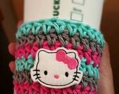 Coffee Cozy Crochet Striped Kitty Coffee cozies, sleeve, mug sweater, pink, gray aqua tea Perfect for ceramic plastic cups, planner girl