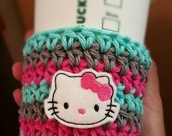Crochet Coffee Cozy { Bow Kitty } pink, gray aqua, knit mug sweater, coffee gift, crochet mug sleeve, cat lover, birthday gift, drink holder