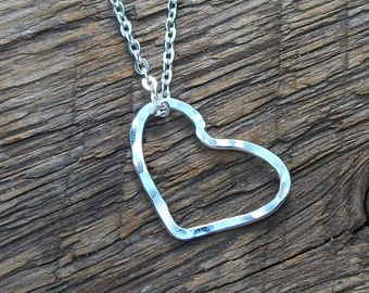 Heart Necklace, Hand Hammered Silver Heart Necklace, Jewelry by Vanessa Perini