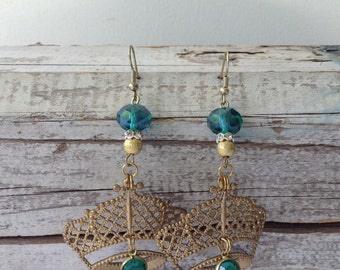Royal Green Crown Earrings