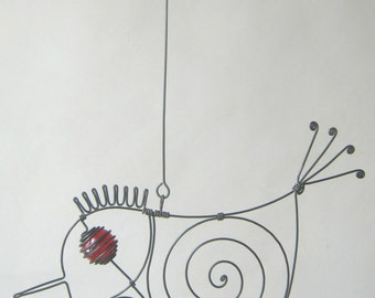 Another Small Red - Eyed Wire Bird Sculpture