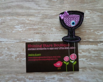 Planner Accessories - Black And Purple Embroidered Halloween Drink With An Eyeball Felt Paperclip Or Bookmark - Food Or Drink Accessory