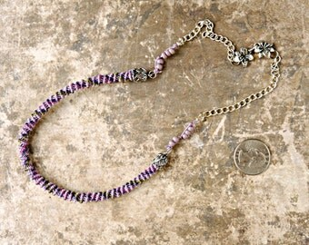Lilac Macrame Spiral Necklace - Micro Macrame Necklace - Sterling Silver Clasp - Floral - Purple and Green Necklace - Macrame Jewelry