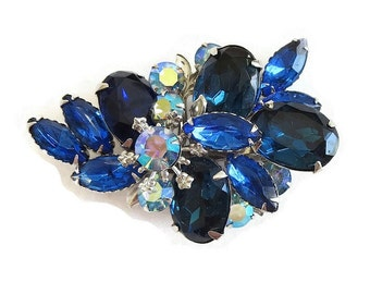Vintage Cobalt Blue and Aurora Borealis Rhinestones Spray Brooch
