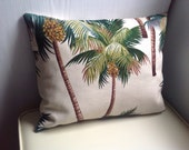 One Hawaiian Bark Cloth Pillow with Zipper Cover, Ocean decor with palm trees, tropical pillow, beach house decor