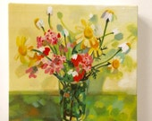 lovely bouquet of flowers 2- Tiny canvas print -  wall hanging - Print of Original acrylic painting- CANVAS ART PRINT
