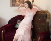 Vintage 1930s Dress - Flirty Sheer Pink Silk Organza 30s Garden Party Gown with Layered Flutter Sleeves