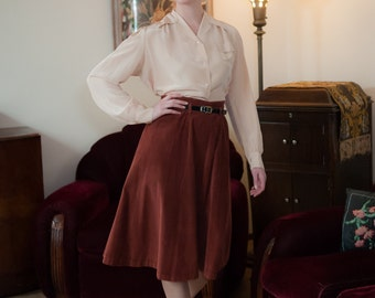 1940s Vintage Skirt - Versatile Burnt Sienna Corduroy A Line 40s Skirt with Dropped Belt Loops