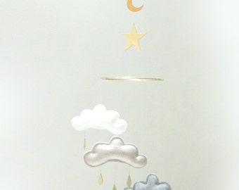 "Moon and Star Nursery cloud mobile "" MOON MIDNIGHT"" by The Butter Flying-grey,white,gold nursery"