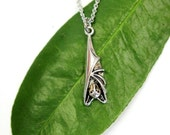 Silver Hanging Bat Necklace Roosting Bat Charm Necklace