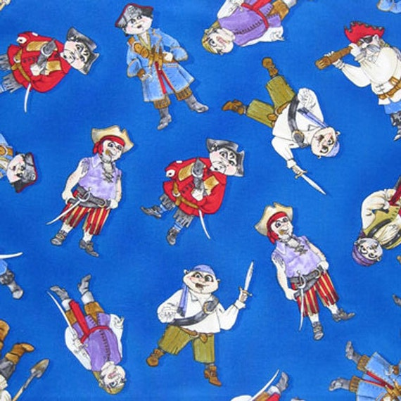 Kid 39 s pirates fabric blue pirates fabric by timeless for Kids pirate fabric