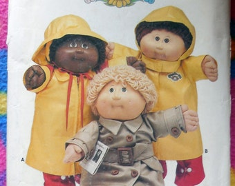 Butterick 354 - Cabbage Patch Kids Rainwear - Raincoat, Trench Coat, Boots, Hat, Jacket - Iron-On Transfers Included - Vintage Pattern UNCUT