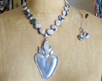 AMOR- Huge Ex Voto Pewter SACRED HEART and Guadalupe Necklace Earrings - Perfect for your loved one