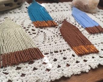 SALE Handmadewarrior Bead Earrings Long Fringe Shimmies