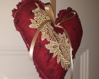 Red Heart Ornament with Venice Lace embellishment, Valentines, hanging door hanger, decorative accent
