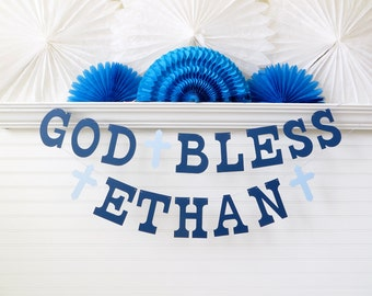 God Bless Banner with Custom Name - 5 inch Letters with Crosses - Christening Banner Dedication Garland Baptism Banner Baby Shower Banner