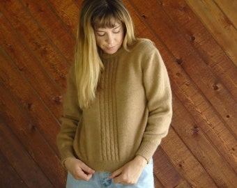 Soft Brown Cable Knit Pullover Sweater - Vintage 80s - XS