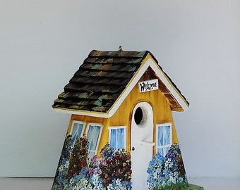 Unique Yellow Outdoor Birdhouse , Handcrafted , Hand Painted , Eco-Friendly