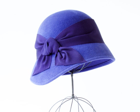 Blue Cloche Hat Women's Cloche Fall Fashion Winter Accessories Fall Hat Fall Accessories Felt Cloche Hat Downton Abbey Hat Gatsby Hat