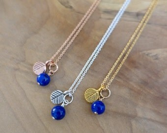 Lapis Necklace, Blueberry Necklace, Leaf Necklace, Gold Vermeil Leaf Necklace, Rose Gold Lapis Necklace, Sterling Silver Blue Berry Necklace