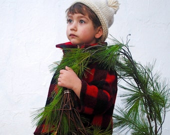 Boys Wool Coat, Jacket, Winter Coat, Lumberjack, Christmas Fashion, Buffalo Plaid Red and Black - 2T, 3T, 4T