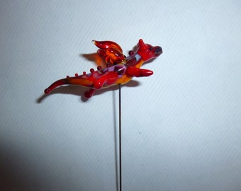 Small fairy garden flying dragon in red, miniature accessory for fairy garden made to order