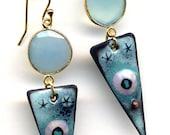Blue Onyx Earrings, Enamel Earrings, White and Blue Earrings, 18 K Gold Filled Cooper Earrings, Handmade by Annaart72