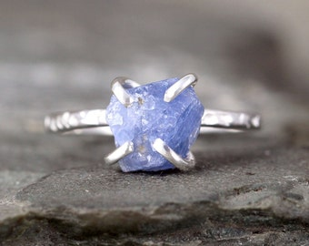 Light Blue Sapphire Ring - Raw Uncut Rough Sapphire - Sterling Silver Hammered Texture - September Birthstone Ring - Raw Blue Gemstone Ring