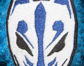 Blue Kitsune Fox Patch Mask  Iron on Patch