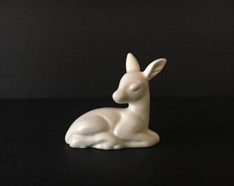 Vintage White Deer Figurine ~Sweet Fawn nursery decor ~Woodland sculpture~ Art Pottery