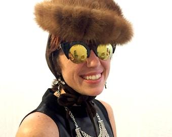 Vintage hat brown hat fur hat minx hat 40s/50s/60s hat