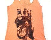 SALE! Womens Beer HUG Bear - Tri-Blend Racerback Tank Top S M L XL