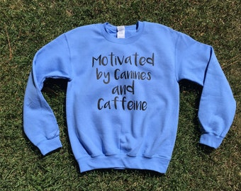 Dog sweatshirt, Funny sweatshirt, Dogs and Caffeine, Inspirational tshirt, Plus Size, dog shirt, unisex graphic sweatshirt, Pullover sweater