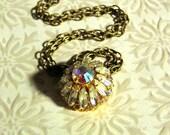 SALE - LAST ONE - Vintage Aurora Borealis Rhinestone Button Necklace - Antiqued Brass & Iridescent Button Pendant Jewelry - Boho, Costume