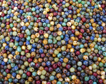 4mm Opaque Natural Earth Picasso Mix Czech Glass Beads - Qty 100 (AS28)