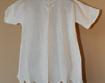 Vintage White Cotton Infant or Baby White Dressing Gown with Embroidery