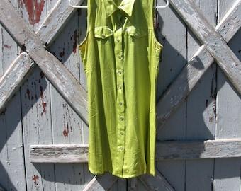 Rockin' - Vintage 1990s lime shift dress M L 11