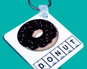 Donut Science Key Ring - Emoji Accessory - Keychain - Wine, Robot, Maker, Taco, Beer