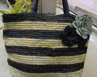 Black & Grey Striped Tote