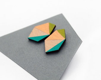 Geometric faceted diamond geo shape stud earrings -  lime green, turquoise blue, gold, natural wood - minimalist, modern jewelry