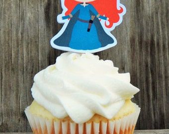 Brave Princess Party - Set of 12 Merida Cupcake Toppers by The Birthday House