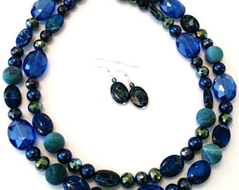 Blue Emperor stone, frosted agate, high quality glass necklace and earring set
