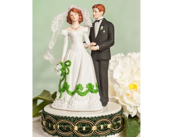 Irish Bride and Groom Shamrock Accent Wedding Cake Topper - Custom Painted Hair Color Available - 102284